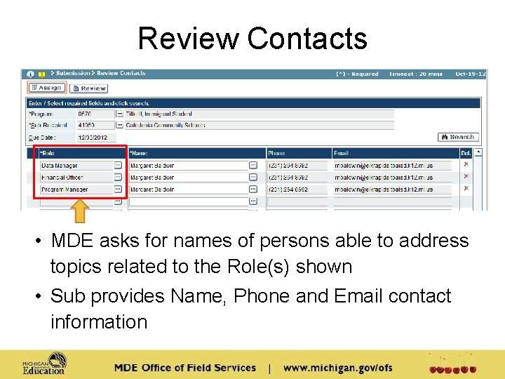 Review Contacts • MDE asks for names of persons able to address topics related