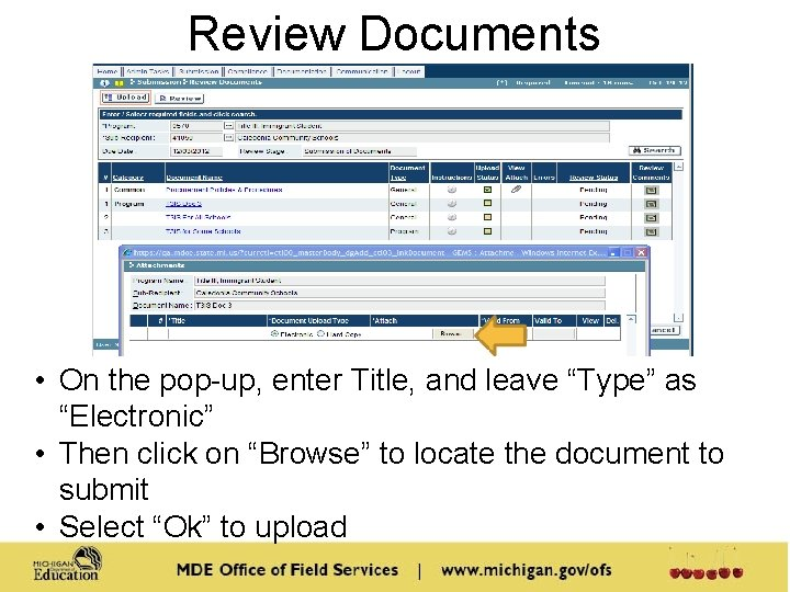 """Review Documents • On the pop-up, enter Title, and leave """"Type"""" as """"Electronic"""" •"""