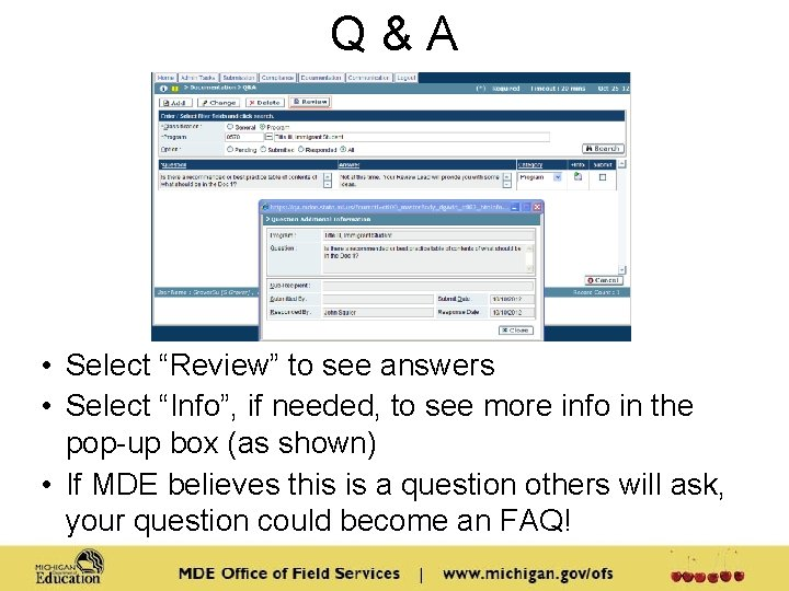 """Q&A • Select """"Review"""" to see answers • Select """"Info"""", if needed, to see"""