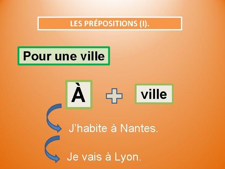 LES PRÉPOSITIONS (I). Pour une ville À ville J'habite à Nantes. Je vais à