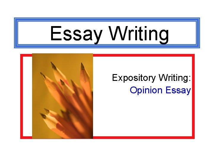 Essay Writing Expository Writing: Opinion Essay