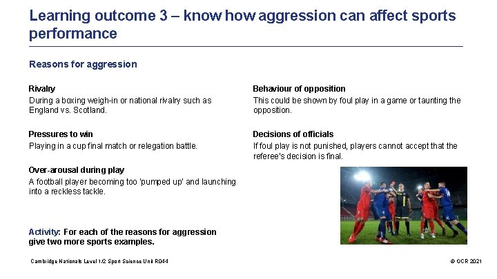 Learning outcome 3 – know how aggression can affect sports performance Reasons for aggression