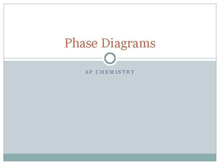 Phase Diagrams AP CHEMISTRY
