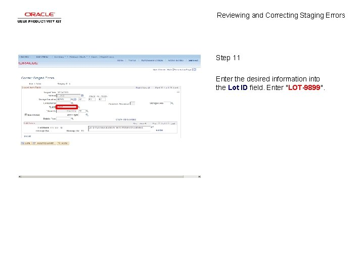 Reviewing and Correcting Staging Errors Step 11 Enter the desired information into the Lot