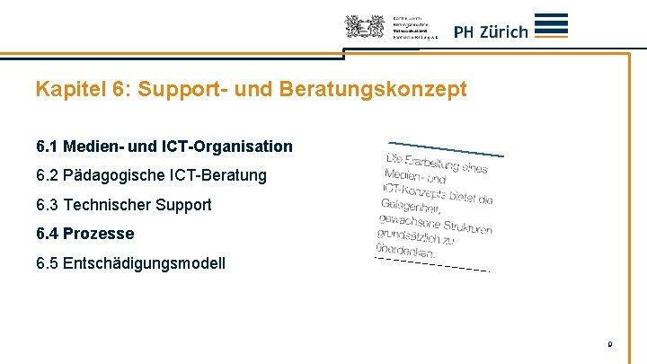 Kapitel 6: Support- und Beratungskonzept 6. 1 Medien- und. ICT-Organisation 6. 2 Pädagogische ICT-Beratung
