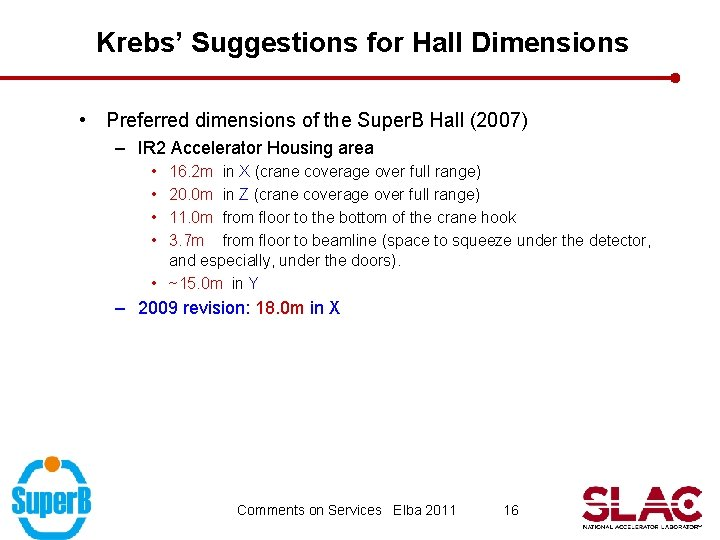 Krebs' Suggestions for Hall Dimensions • Preferred dimensions of the Super. B Hall (2007)