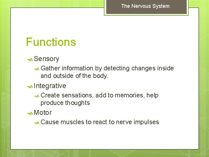 The Nervous System Functions Sensory Gather information by detecting changes inside and outside of