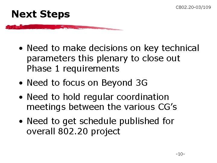 Next Steps C 802. 20 -03/109 • Need to make decisions on key technical