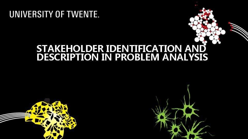 STAKEHOLDER IDENTIFICATION AND DESCRIPTION IN PROBLEM ANALYSIS
