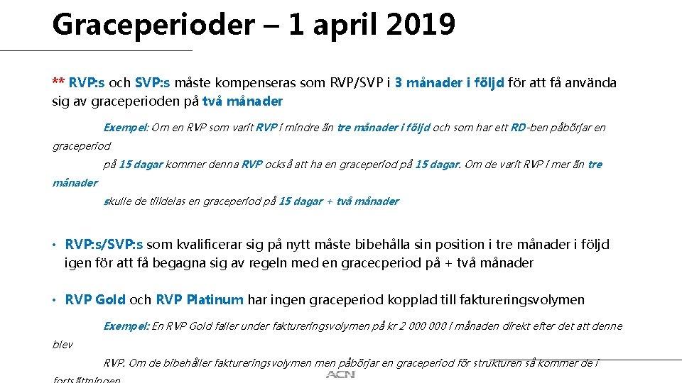 Graceperioder – 1 april 2019 ** RVP: s och SVP: s måste kompenseras som
