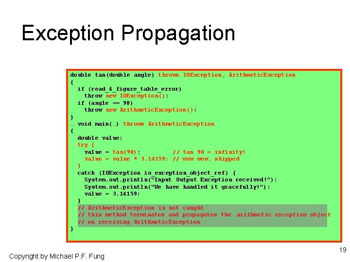 Exception Propagation double tan(double angle) throws IOException, Arithmetic. Exception { if (read_4_figure_table_error) throw new