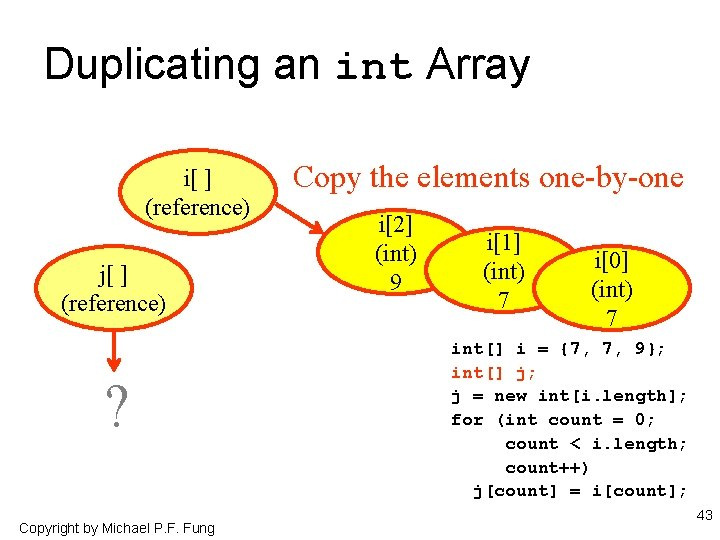 Duplicating an int Array i[ ] (reference) j[ ] (reference) ? Copyright by Michael