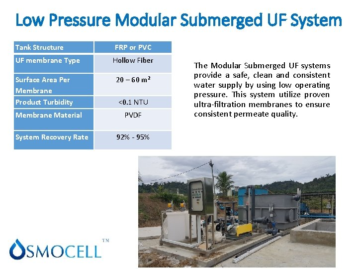 Low Pressure Modular Submerged UF System Tank Structure FRP or PVC UF membrane Type