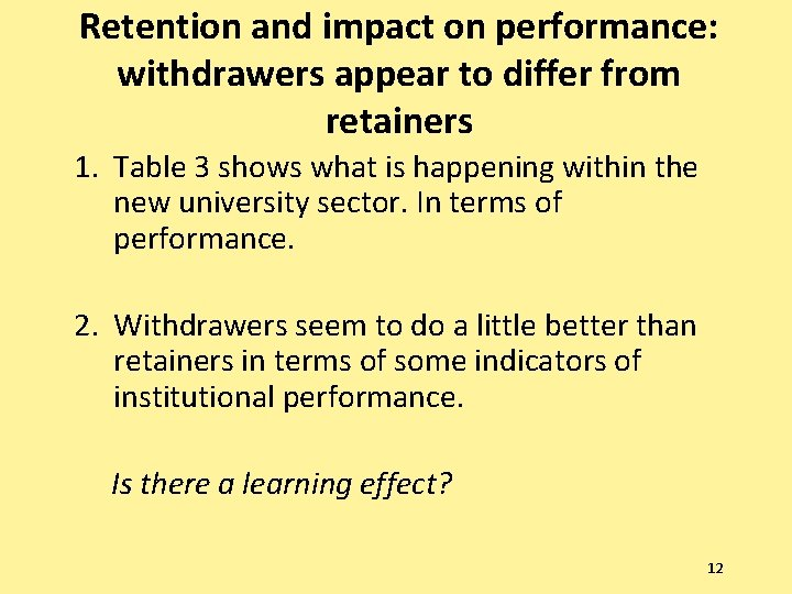 Retention and impact on performance: withdrawers appear to differ from retainers 1. Table 3