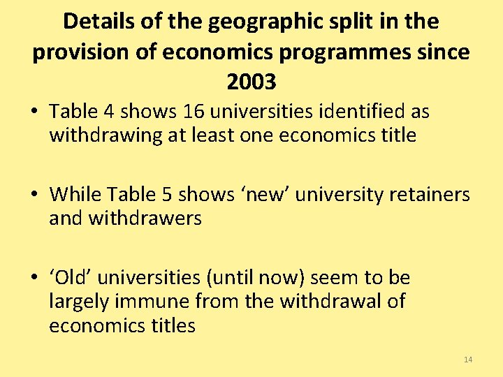Details of the geographic split in the provision of economics programmes since 2003 •