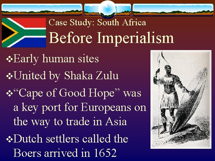 Case Study: South Africa Before Imperialism v. Early human sites v. United by Shaka
