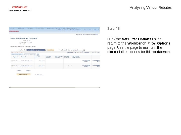 Analyzing Vendor Rebates Step 16 Click the Set Filter Options link to return to