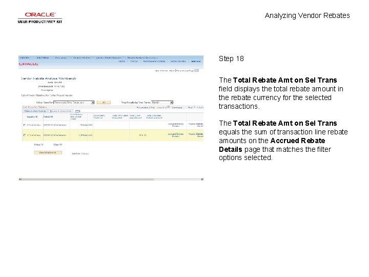 Analyzing Vendor Rebates Step 18 The Total Rebate Amt on Sel Trans field displays