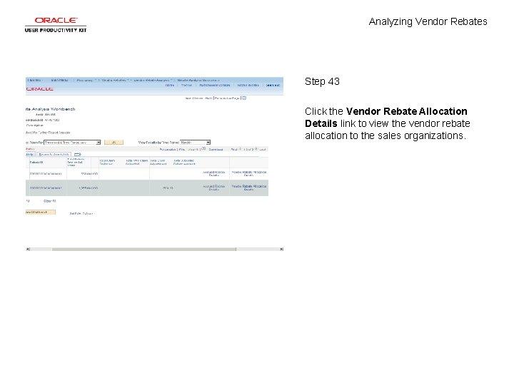 Analyzing Vendor Rebates Step 43 Click the Vendor Rebate Allocation Details link to view