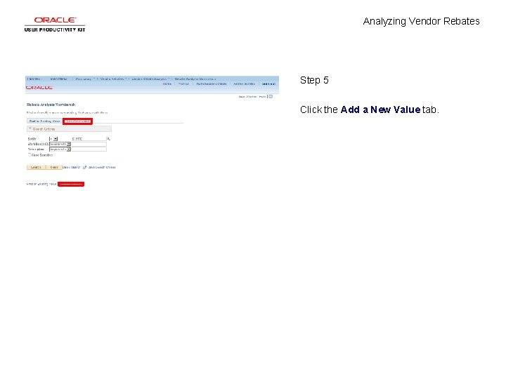 Analyzing Vendor Rebates Step 5 Click the Add a New Value tab.