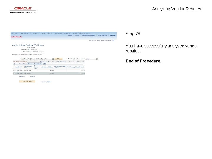 Analyzing Vendor Rebates Step 78 You have successfully analyzed vendor rebates. End of Procedure.
