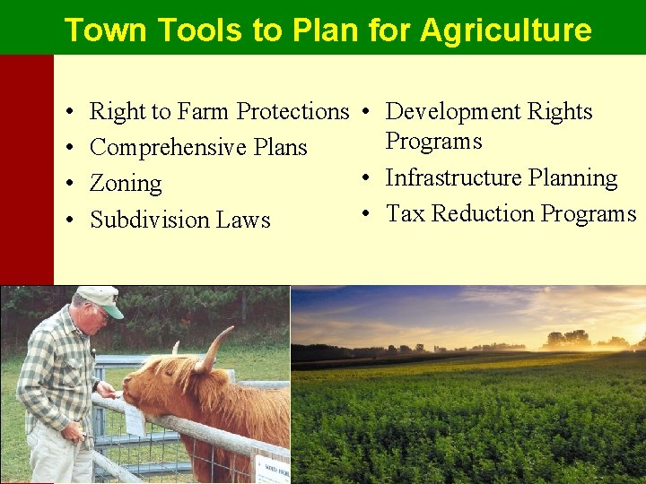Town Tools to Plan for Agriculture • • Right to Farm Protections • Development