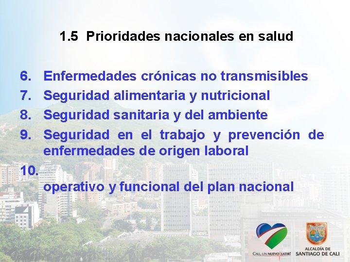 1. 5 Prioridades nacionales en salud 6. 7. 8. 9. Enfermedades crónicas no transmisibles