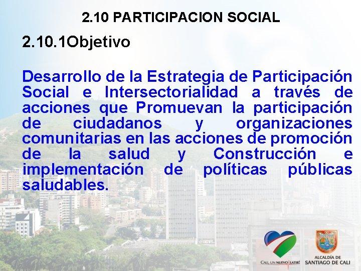 2. 10 PARTICIPACION SOCIAL 2. 10. 1 Objetivo Desarrollo de la Estrategia de Participación