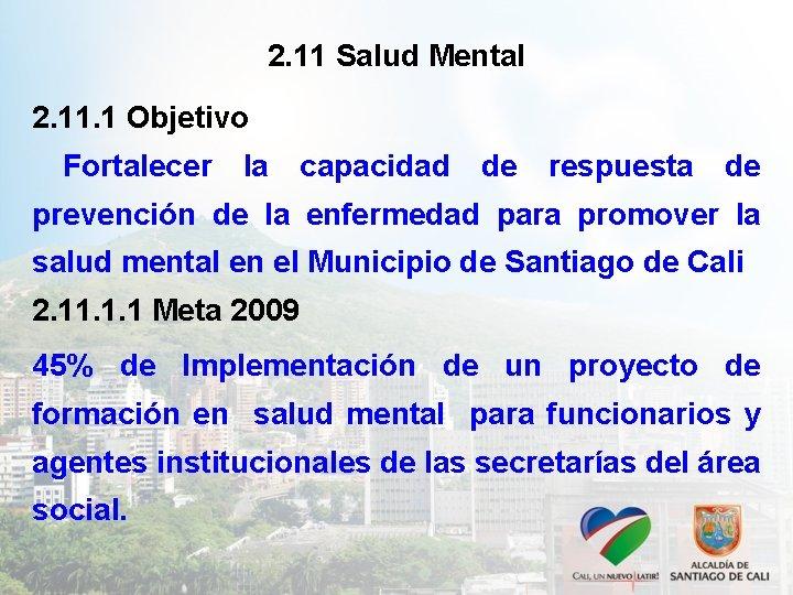 2. 11 Salud Mental 2. 11. 1 Objetivo Fortalecer la capacidad de respuesta de