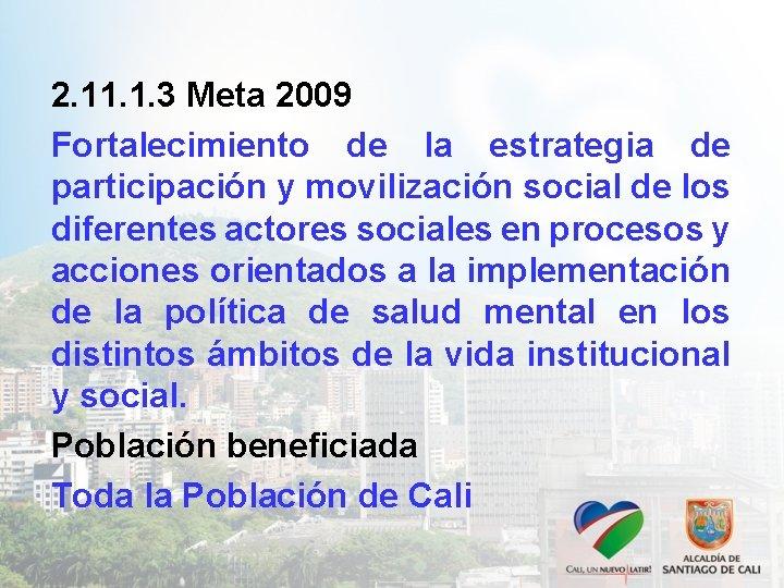 2. 11. 1. 3 Meta 2009 Fortalecimiento de la estrategia de participación y movilización