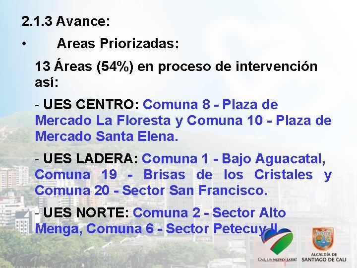2. 1. 3 Avance: • Areas Priorizadas: 13 Áreas (54%) en proceso de intervención