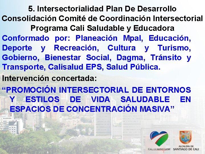 5. Intersectorialidad Plan De Desarrollo Consolidación Comité de Coordinación Intersectorial Programa Cali Saludable y