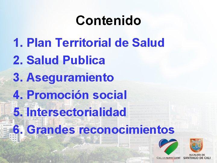Contenido 1. Plan Territorial de Salud 2. Salud Publica 3. Aseguramiento 4. Promoción social