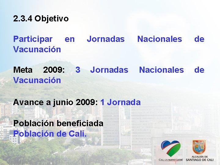 2. 3. 4 Objetivo Participar en Vacunación Meta 2009: Vacunación Jornadas 3 Jornadas Nacionales