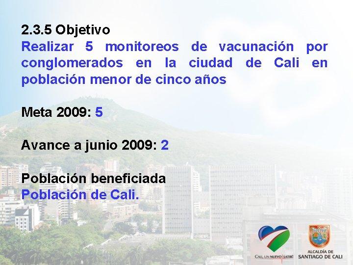 2. 3. 5 Objetivo Realizar 5 monitoreos de vacunación por conglomerados en la ciudad