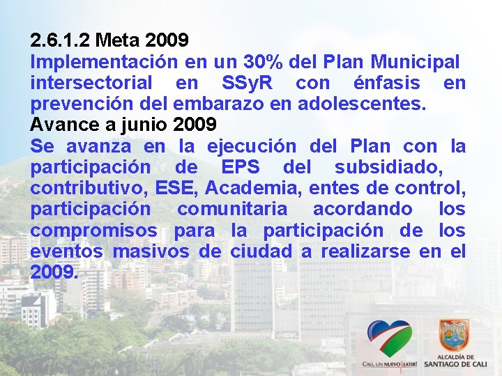 2. 6. 1. 2 Meta 2009 Implementación en un 30% del Plan Municipal intersectorial
