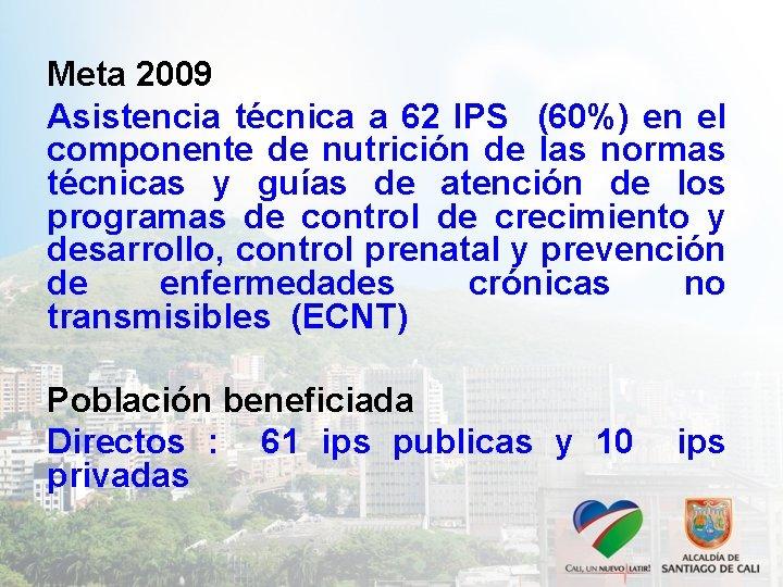 Meta 2009 Asistencia técnica a 62 IPS (60%) en el componente de nutrición de