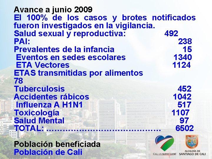 Avance a junio 2009 El 100% de los casos y brotes notificados fueron investigados