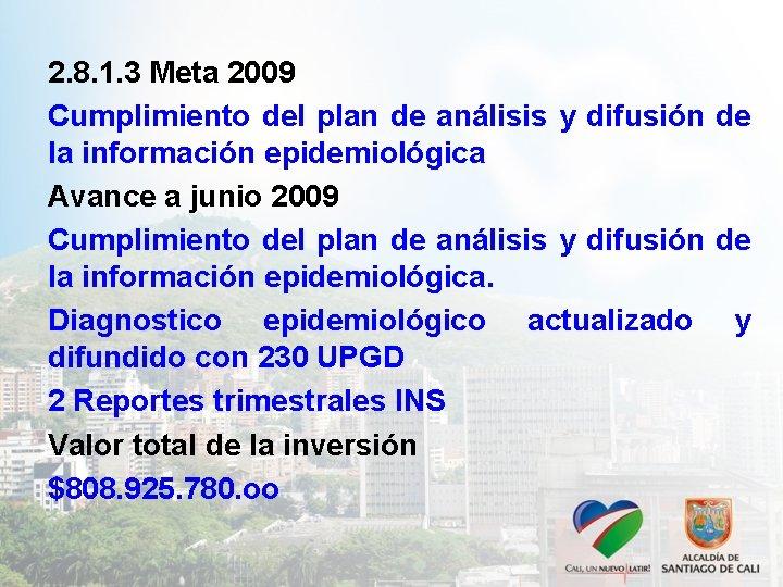 2. 8. 1. 3 Meta 2009 Cumplimiento del plan de análisis y difusión de
