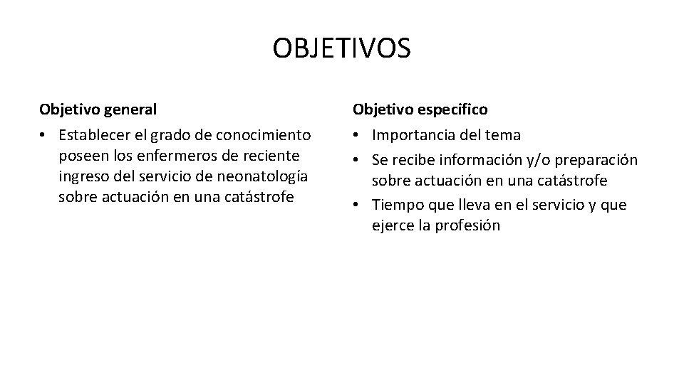 OBJETIVOS Objetivo general Objetivo especifico • Establecer el grado de conocimiento poseen los enfermeros