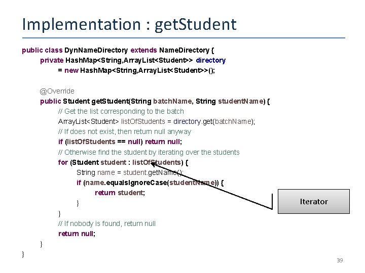 Implementation : get. Student public class Dyn. Name. Directory extends Name. Directory { private