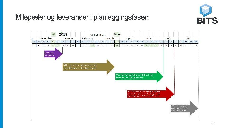Milepæler og leveranser i planleggingsfasen 13