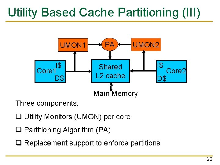 Utility Based Cache Partitioning (III) UMON 1 I$ Core 1 D$ PA UMON 2