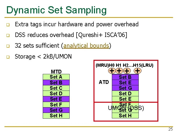 Dynamic Set Sampling q Extra tags incur hardware and power overhead q DSS reduces