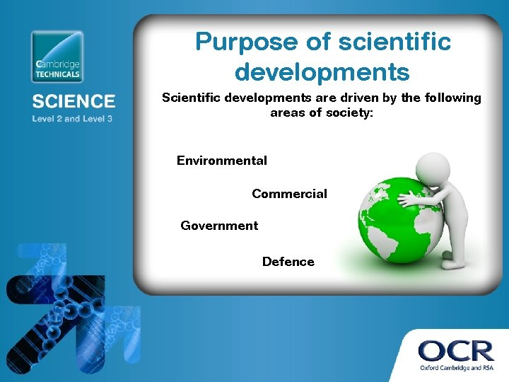 Purpose of scientific developments Scientific developments are driven by the following areas of society: