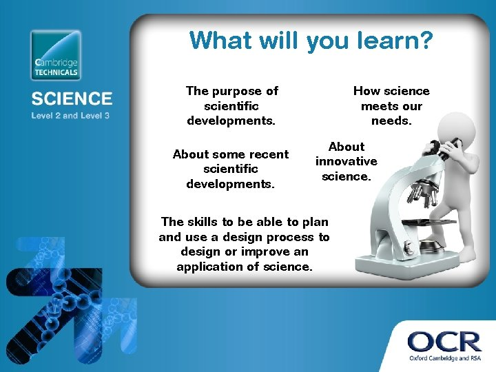 What will you learn? The purpose of scientific developments. About some recent scientific developments.