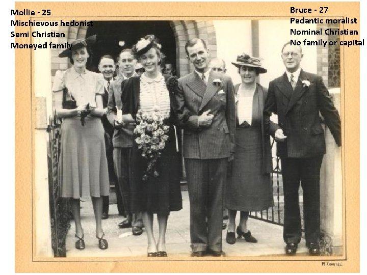 Mollie - 25 Mischievous hedonist Semi Christian Moneyed family 16 December 1939 – 3
