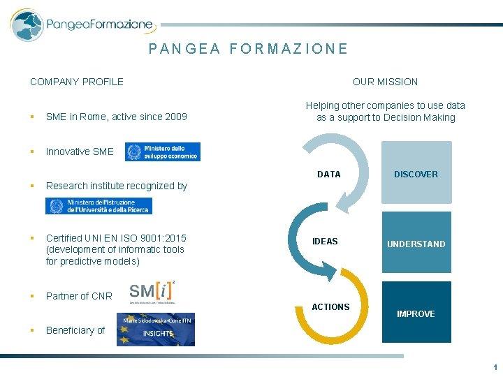 PANGEA FORMAZIONE OUR MISSION COMPANY PROFILE § SME in Rome, active since 2009 §