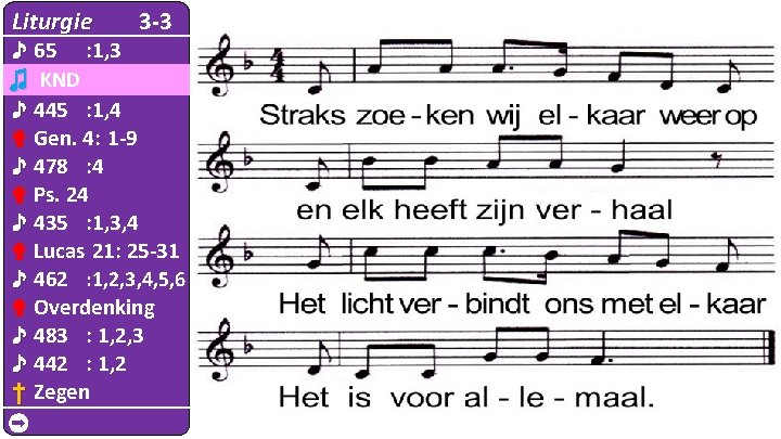 Liturgie 3 -3 ♪ 65 : 1, 3 ♫ KND ♪ 445 : 1,