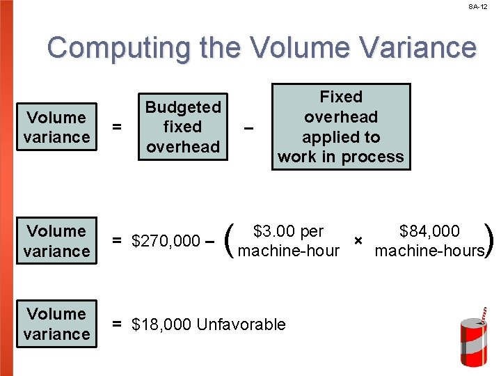 8 A-12 Computing the Volume Variance Volume variance = Budgeted fixed overhead – (
